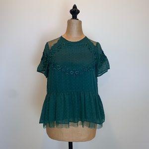 Zara teal Swiss dot short-sleeved blouse #3448